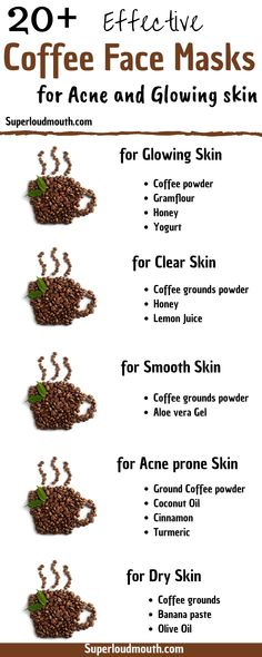 Diy coffee face mask recipes for glowing skin, acne, anti-aging and many more with natural and homemade organic ingredients. # diy face mask for acne clear skin Coffee face mask recipes for Acne, Glowing skin and other skin issues Belleza Diy, Coffee Face Mask, Coffee Face Scrub, Homemade Face Masks, Face Scrub Homemade, Homemade Skin Care, Acne Skin, Acne Prone Skin, Oily Skin