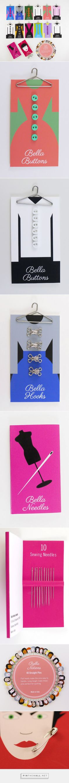 Bella Sewing Notions // Packaging Design for buttons, hooks, needles, sewing notions and pins.