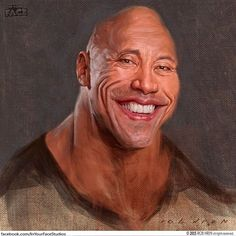 """""""Awesome caricature painting of Dwayne Johnson a.a """"The Rock"""" by artist Rob Hren Funny Caricatures, Celebrity Caricatures, Celebrity Drawings, Celebrity Portraits, Caricature Artist, Caricature Drawing, The Rock Dwayne Johnson, Dwayne The Rock, Silvester Stallone"""