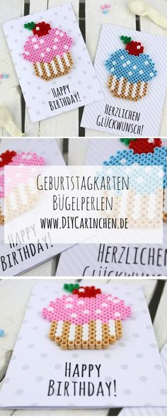 Make DIY birthday cards from Hama iron-on beads yourself + free template - . - Event planning - DIY birthday cards from Hama iron beads make your own free template - Happy Birthday, Birthday Cards, Birthday Gifts, Free Birthday, Diy Birthday For Her, Birthday Celebration, Birthday Parties, Birthday Ideas, Cumpleaños Diy