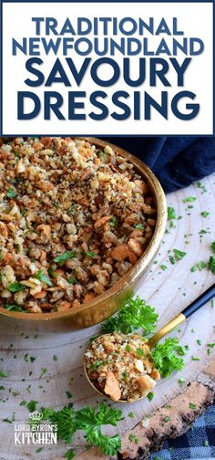 Loved throughout Newfoundland, this traditional baked dressing uses pure savoury to transform a bread stuffing into something extraordinarily tasty! The same preparation method is applied whether you bake or pan-fry the dressing, and even if you stuff it into your turkey! #newfoundland #recipes #stuffing #dressing #traditional