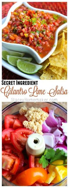 Salsa that's loaded with ripe tomatoes, fresh veggies, tons of flavor and a secret ingredient that will make your taste buds dance!