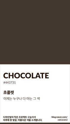 Color of today: Chocolate디자인빛의 작은 프로젝트 오늘의색은 하루에 한 빛깔, 아름다운 색과 재미있... Flat Color Palette, Colour Pallette, Colour Schemes, Pantone Colour Palettes, Pantone Color, White Aesthetic, Aesthetic Design, Colour Dictionary, Paleta Pantone