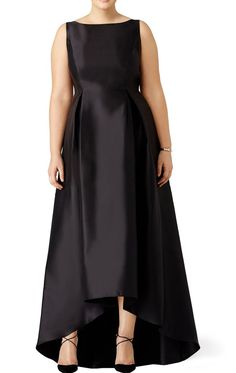 Straps High Neck Satin Hi-Lo Prom Dress Plus Size Black Evening Gown - Prom Dresses Design Gowns For Plus Size Women, Plus Size Wedding Dresses With Sleeves, Plus Size Gowns Formal, Plus Size Black Dresses, Plus Size Evening Gown, Dress Plus Size, Plus Size Womens Clothing, Plus Size Outfits, Evening Gowns