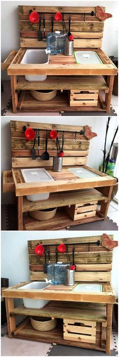 Now enhance the beauty of your place and amaze your kids with this fabulous repurposed pallets made kids mud kitchen. This is the best pallets innovation to surprise your lovely kid on her birthday. You can also customize this project as according to your desires.