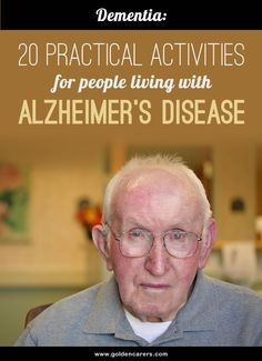 20 Practical Activities for people living with Alzheimer's Disease Developing practical, efficient and meaningful leisure programs for people with Alzheimer's Disease requires creative thinking. Nursing Home Activities, Elderly Activities, Senior Activities, Therapy Activities, Exercise Activities, Senior Games, Spring Activities, Outdoor Activities, Assisted Living Activities