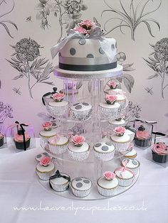 Cake and cupcakes with purple instead