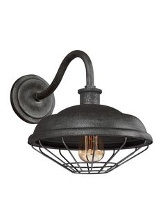 """Feiss WB1829 Lennex Single Light 13"""" Tall Outdoor Wall Sconce Slated Grey Metal Outdoor Lighting Wall Sconces Outdoor Wall Sconces"""