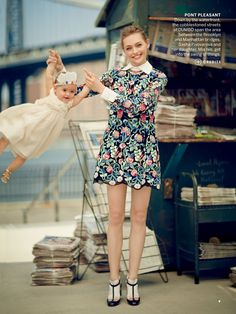 Sasha Pivovarova and her daughter Mia by boo george for us vogue august 2013