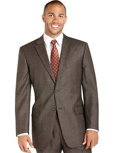 Suits - Tommy Hilfiger Brown Plaid Suit - Men's Wearhouse