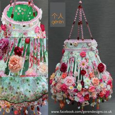 Cascade- beautiful bespoke lampshade from Geren Shabby Chic Crafts, Shabby Chic Decor, Boho Decor, Ribbon Chandelier, Shabby Chic Lamp Shades, Lampshades, Diy Lampshade, Creative Inspiration, Decoration