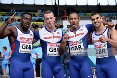 Harry Aikines-Aryeetey, Richard Kilty, James Ellington and Adam Gemili of Great Britain pose after winning the 4x100m Relay Men during first day of the European Athletics Team Championship at Eintracht Stadion on June 21, 2014 in Braunschweig, Germany.