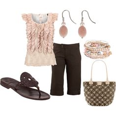 Pink & Brown by jklmnodavis on Polyvore-Adorable, although I would change the bracelet and the earrings.