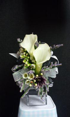 double white mini calla lily wristlet corsage