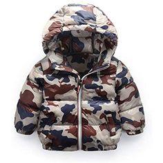 1b7db63cc2 Capispalla per bambini invernali Unisex Winter Warm Puffer Down Jacket Hood  Camouflage Light Weight Thick Snowwear