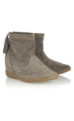 Isabel Marant Beslay Perforated Suede Concealed Wedge Ankle Boots - Isabel Marant