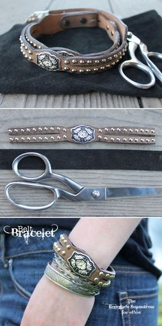 Western-inspired cowgirl bracelet made out of an old belt. Super simple #DIY project and great summer accessory.