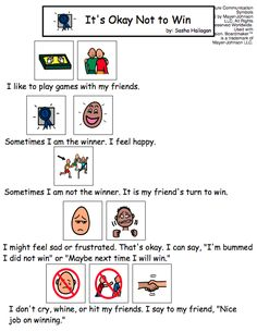It's Okay Not to Win - visual story for children with autism. Repinned by SOS Inc. Resources pinterest.com/sostherapy/.