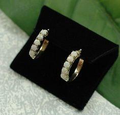 Beautiful Solid 14kt Yellow Gold Genuine Round Opal Hoop Earrings 585 Hoops | eBay