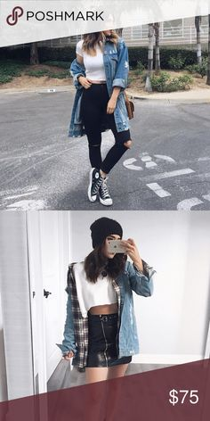 Long Distressed Denim Jacket New Jackets & Coats