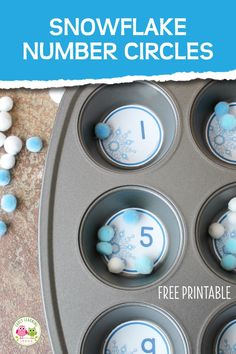 Looking for winter math activities for your kids? Try these snowflake number circles. Use the free math printables in muffin tins or use them to make counting containers. Many ideas are included for counting, number sense, and even basic addition. Winter Activities For Kids, Pre K Activities, Preschool Learning Activities, Montessori Preschool, Montessori Elementary, Elementary Education, Kids Education, Winter Thema, Math Work