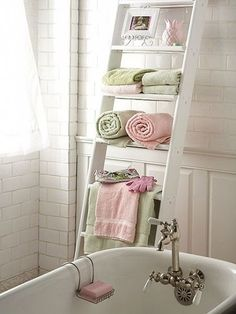 Using an Old Ladder 4 Towel Storage