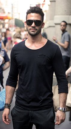 Men's Street Style. All black. #shopcade #streetstyle #menswear