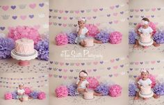 Two sisters photography, pink and purple princess cake smash session, glitter and hearts, princess cake smash, baby girl first birthday