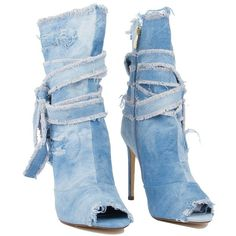 Wrap It Up Denim Booties ($35) ❤ liked on Polyvore featuring shoes, boots, ankle booties, denim booties, peep toe boots, side zip boots, high heel ankle booties and peep-toe booties