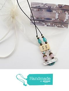ART::WEAR Handmade Necklace, Vintage Bone Mahjong, Mother of Pearl, Blue and Pale Pink Czech Crystal & Brass Beads on Genuine Distressed Leather Cord from ART::WEAR Necklaces by Cherie Lester https://www.amazon.com/dp/B01MTAHBIU/ref=hnd_sw_r_pi_dp_4AtHybYVAYY36 #handmadeatamazon