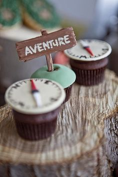I like the adventure theme for a retirement/graduation party, - outdoors Retirement Parties, First Birthday Parties, Boy Birthday, First Birthdays, Birthday Ideas, Birthday Photos, Themed Cupcakes, Birthday Cupcakes, Camping Parties