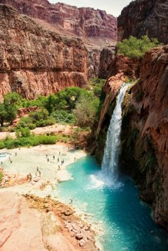 This article contains a foolproof guide to getting your hands on a coveted permit to Havasupai Falls. Havasu Falls is a gorgeous oasis located in a remote Indian Reservation hidden deep within the Grand Canyon in Arizona. Grand Canyon Waterfalls, Havasupai Waterfalls, Havasupai Arizona, Havasupai Falls, Havasu Falls Arizona, Oh The Places You'll Go, Places To Travel, Places To Visit, Dream Vacations