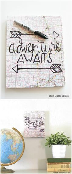 This unique DIY hand lettered canvas art can be customized with a variety of different papers, world maps, or book pages to fit the space you are decorating! Perfect decor for a living room, bedroom . . or kids room!