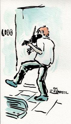 Le violoniste punk - Rue St Ferréol, Marseille, Vers Marseille[ #DRAWING ] Punk violinist - Rue St Ferréol, #Marseille  http://www.lescarnets.fr/sketch.php?id=1111 #art #travel