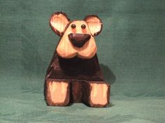 Sitting Bear Wood Carving Hand Carved Cabin Decor Wood