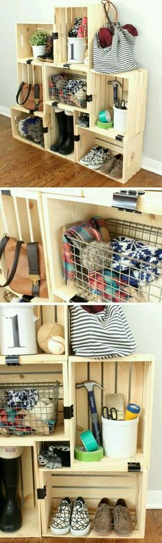 Easy Crate Storage with Binder Clips Click Pic for 20 DIY Small Apartment Organization Ideas for the Home Easy Storage Ideas for Bedrooms Dollar Stores Small Apartment Organization, Apartment Decorating On A Budget, Apartment Ideas, Organization Ideas, Storage Ideas, Diy Storage, Bedroom Organization, Shoe Storage, Clothes Storage