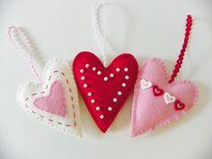 Felt Heart Ornaments- Valentine's Day Decor or Gift- Set of THREE. $20.00, via Etsy.
