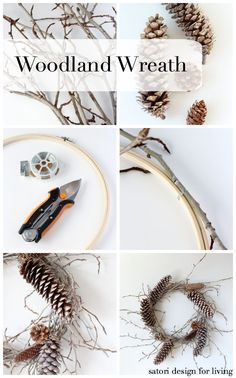 Make this DIY woodland wreath with twigs and pine cones for less than $5! Full tutorial at Satori Design for Living
