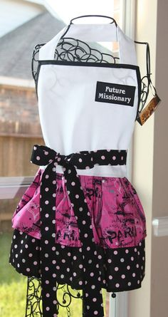 Little Sister Future Missionary Apron by EMCreativeDesigns on Etsy, $28.00 Great Gift for 5-11 year Olds!  #missionary-minded www.missionary-minded.com