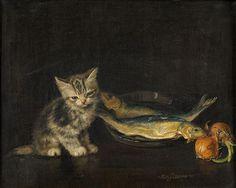 Meta Pluckbaum, Kitten with Fish #catsinart #cats #art #MuseumCats
