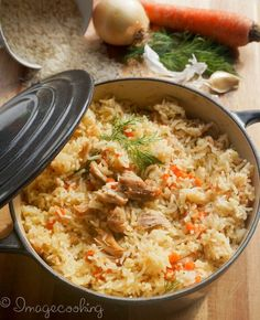 Chicken with Rice in one pot. Sub rice for brown rice, and cut EVOO by half and…