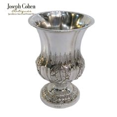 ANTIQUE INDIAN COLONIAL SILVER CUP, CAMPANULA FORM, L B & CO, CALCUTTA, C. 1850 Colonial, Calcutta, Joseph, Vase, Indian, Antiques, Silver, Home Decor, Antiquities