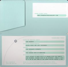 Boarding pass wedding invitation in Tiffany Blue from Marsupial. Customize yours with Paper Passionista.
