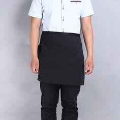 Black Solid Waitress Waiter 2 Pockets Waist Half Bib Apron Cotton Twill Large