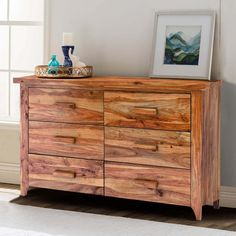Celebrate the endearing beauty of hardwood with our Delaware Rustic Solid Wood Bedroom Dresser With 6 Drawers. This handmade long chest of drawers stands. Solid Wood Platform Bed, Platform Bed Frame, Dresser Sets, Wood Dresser, Dresser Top, Wood Bedroom, Bedroom Sets, Master Bedroom, Furniture Projects