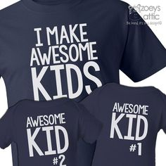 I make awesome kids dad and awesome kids matching t-shirts custom gift set of THREE DARK shirts - great gift for Dad