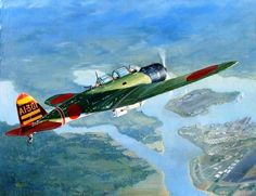 """""""Dawn of Infamy"""" - Imperial Japanese Navy Kate, piloted by Mitsuo Fuchida from carrier Akagi, approaches Battleship Row over Pearl Harbor on the morning of December Original oil painting by aviation artist Kevin Weber. Pin by Paolo Marzioli Ww2 Aircraft, Fighter Aircraft, Military Aircraft, Fighter Jets, In The Air Tonight, Imperial Japanese Navy, Pearl Harbor Attack, War Thunder, Airplane Art"""