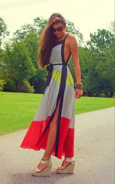 Colorblocked Maxi and cute shoes. Wouldn't wear them together like this tho