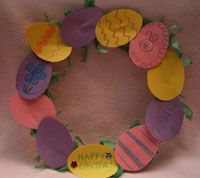 paper plate, easter grass, multi-color construction paper eggs!!