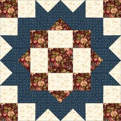 """Elm Creek Quilts: Circle of Quilters Collection"" fabrics lends the Loyal Daughter block an antique, Christmasy look, don't you? Star Quilt Patterns, Pattern Blocks, Scrappy Quilts, Mini Quilts, Quilting Tutorials, Quilting Projects, Mug Rug Tutorial, Miniature Quilts, Book Quilt"